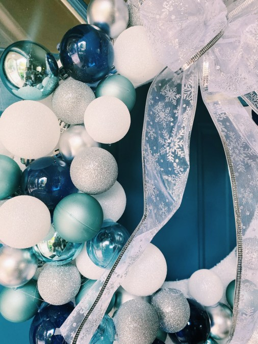 DIY Ornament Christmas Wreath Inspired by Frozen