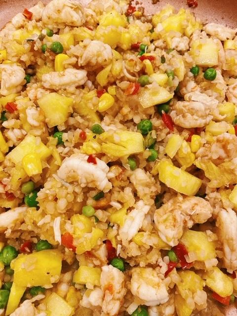 "how to make Pineapple Shrimp Fried ""Rice"""
