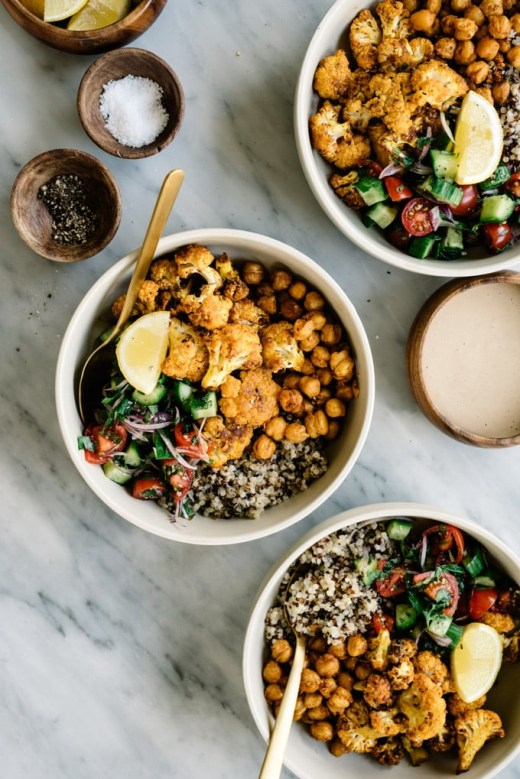 warm lunch idea with cauliflower and chickpeas