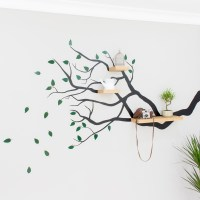 Tree Branch Wall Decal with Floating Shelves