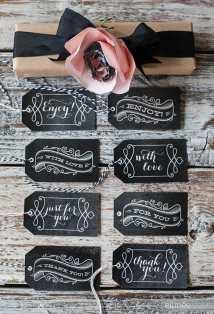 Ellinee Free Printable Chalkboard Gift Tags