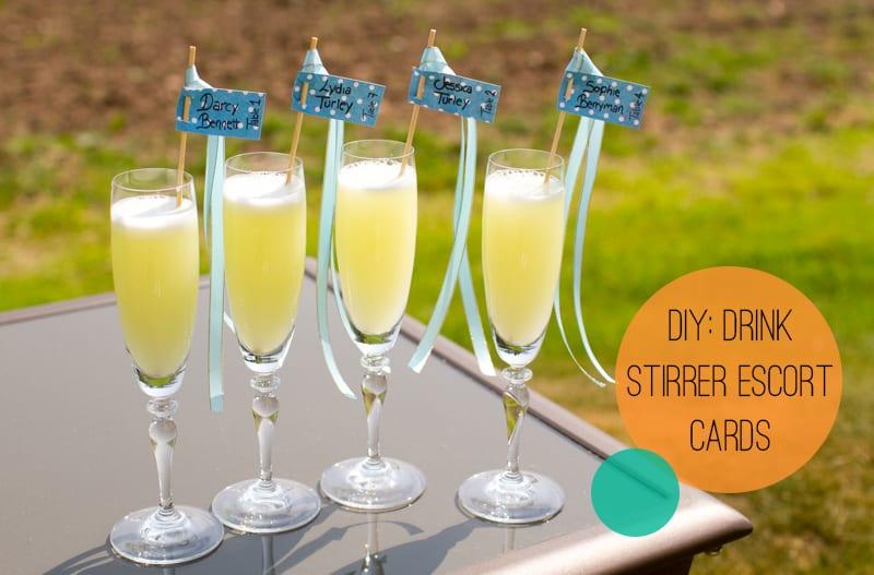 DIY Drink stirrer escort cards