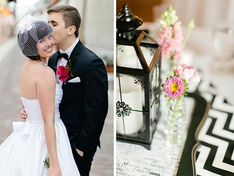 Main Black White Chevron Pink Wedding Florida Rooftop Wedding7