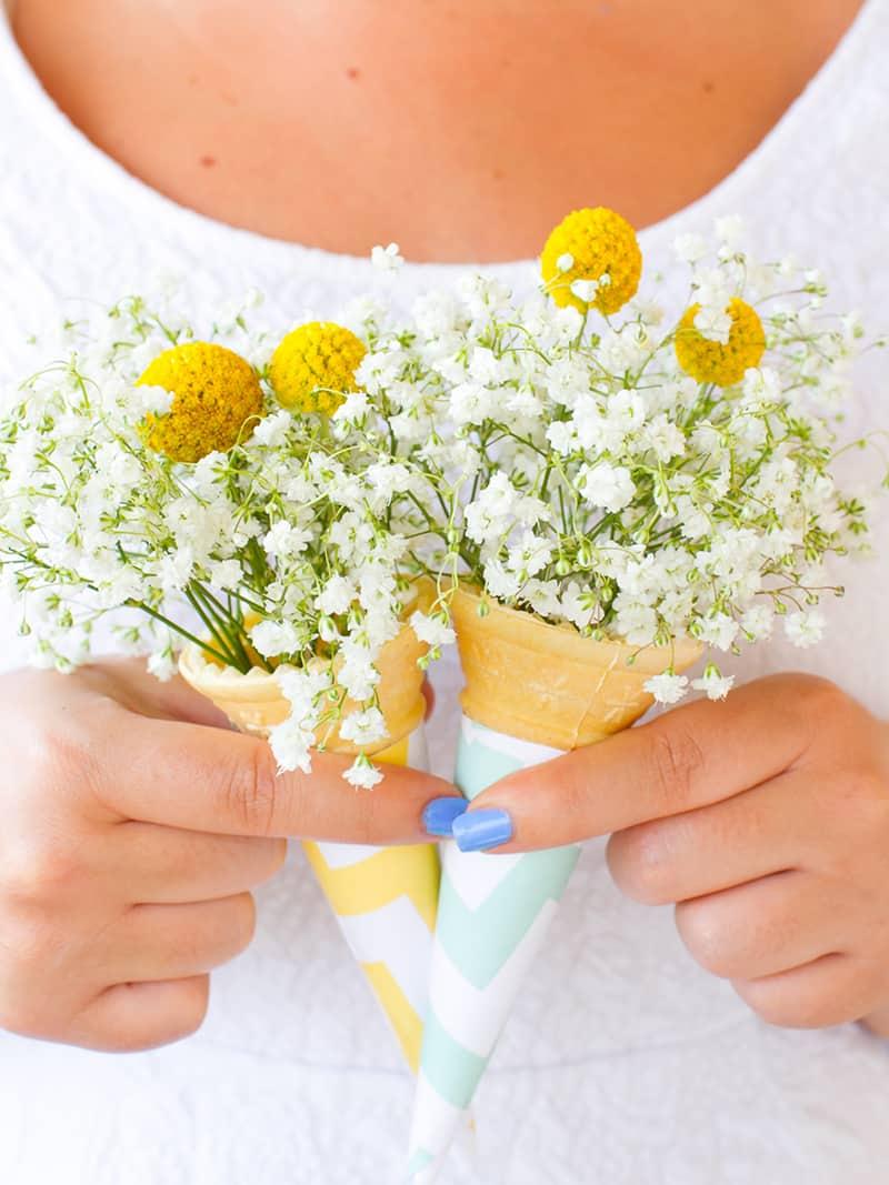 DIY ice cream cone bouquet DIY wedding blog