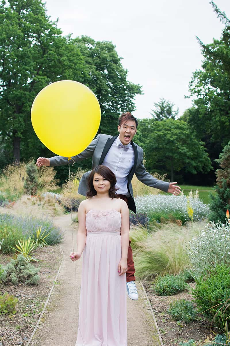 Quirky and fun engagement shoot yellow balloon valentines park