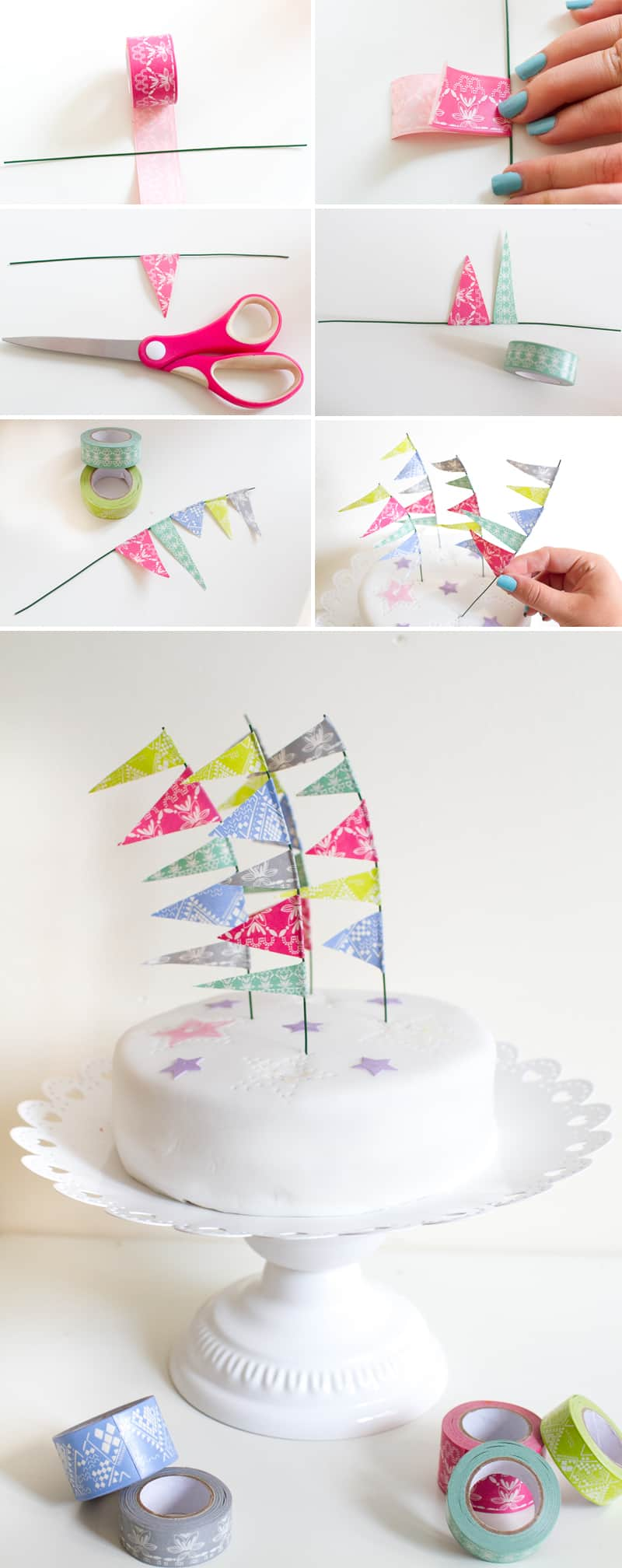 Washi Tape Festival Flag Cake Toppers Collage
