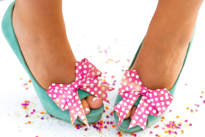 Bow Shoe Clips Origami Bows Polka Dot DIY_