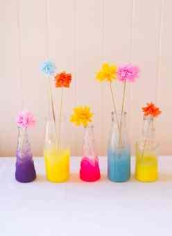DIY neon spray painted bottles