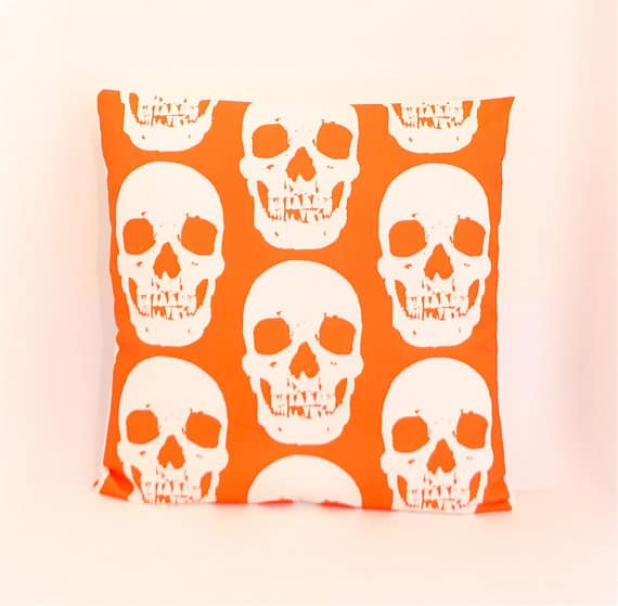Orange Skull Pillow