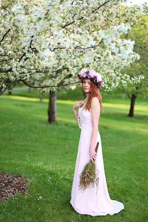 Spring Spring Wedding Inspiration Floral Crown Orchard Purple Lilac 28
