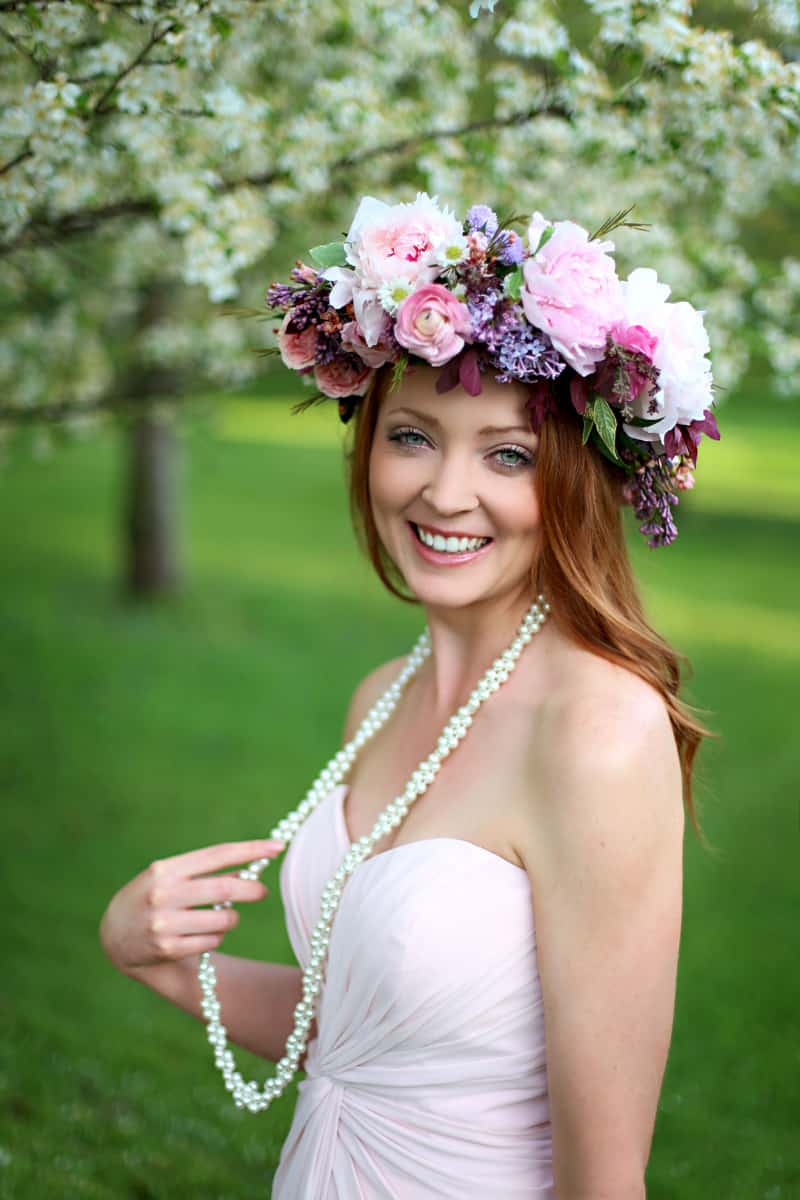Spring Spring Wedding Inspiration Floral Crown Orchard Purple Lilac 32