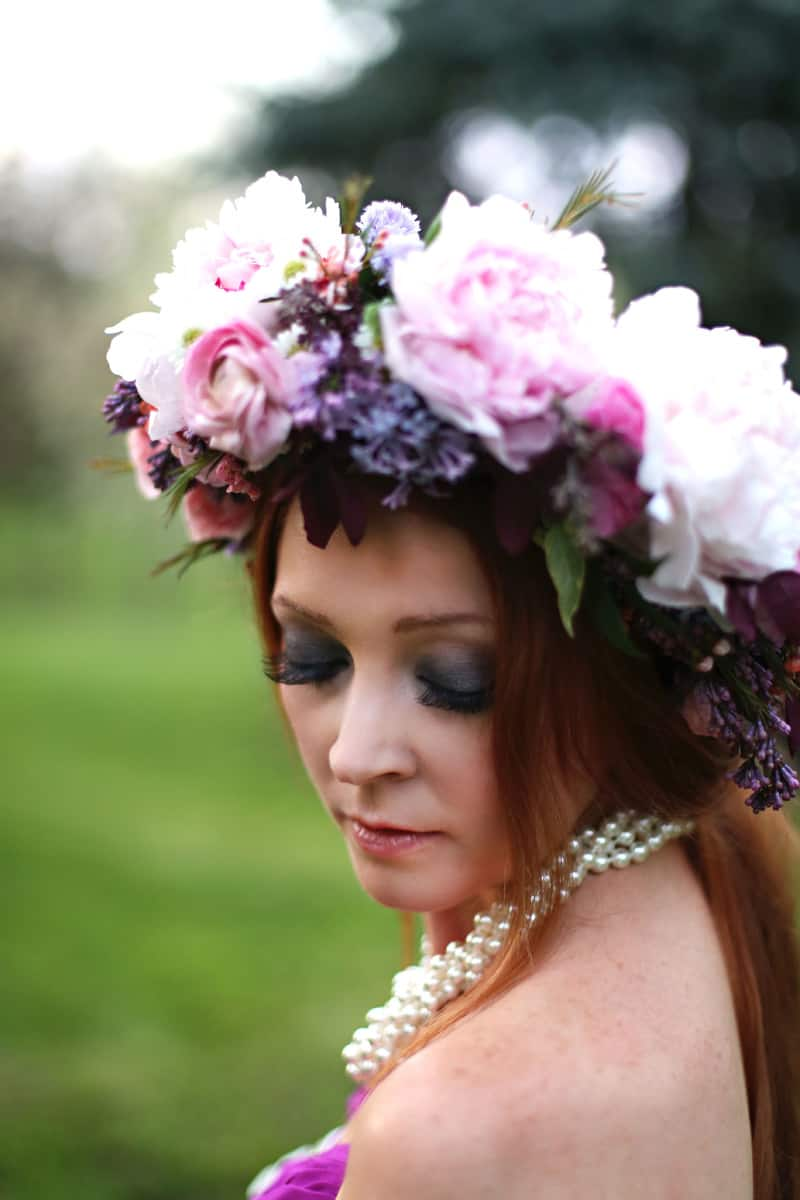Spring Spring Wedding Inspiration Floral Crown Orchard Purple Lilac 55