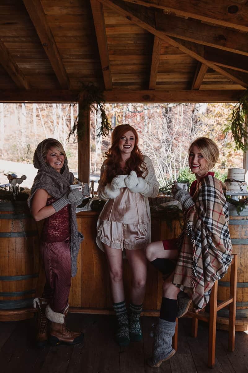 Christmas Bridal Brunch Log Cabin Hot Chocolate Festive Shoot-15