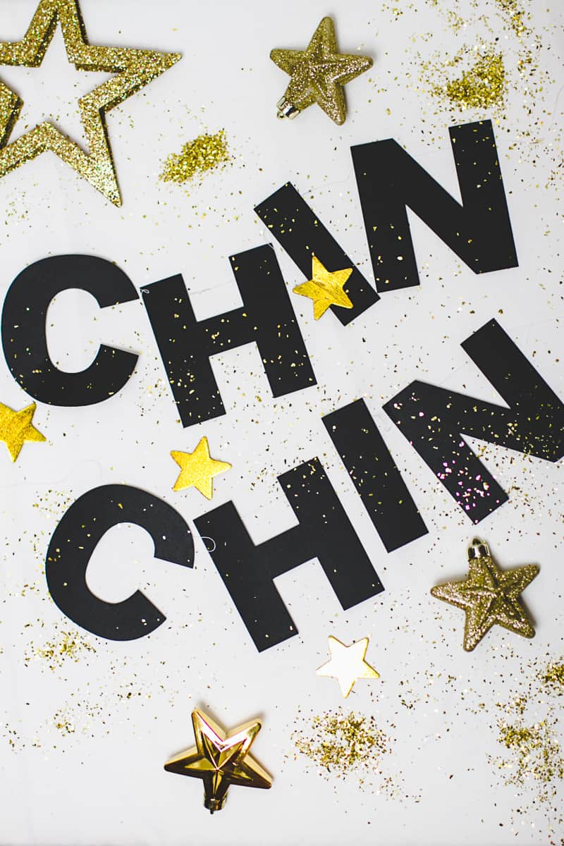 New Years Eve Chin Chin Banner Gold Black Glitzy Garland DIY-5