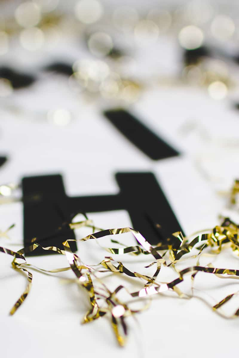 New Years Eve Chin Chin Banner Gold Black Glitzy Garland DIY