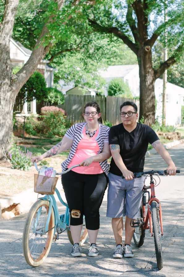 Quirky Engagement Shoot Librarian Fun Dogs Bike Ride 43