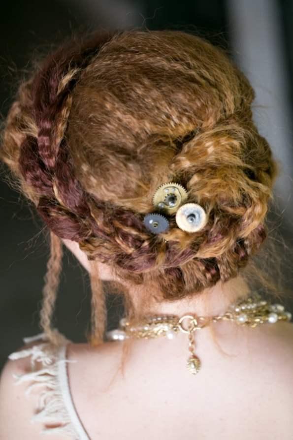 Steampunk Wedding Inspiration metals bride shoot 4
