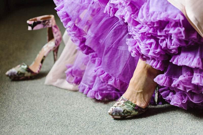 Close Knit Family & Friend DIY Wedding, Bride with Purple Petticoat (14)