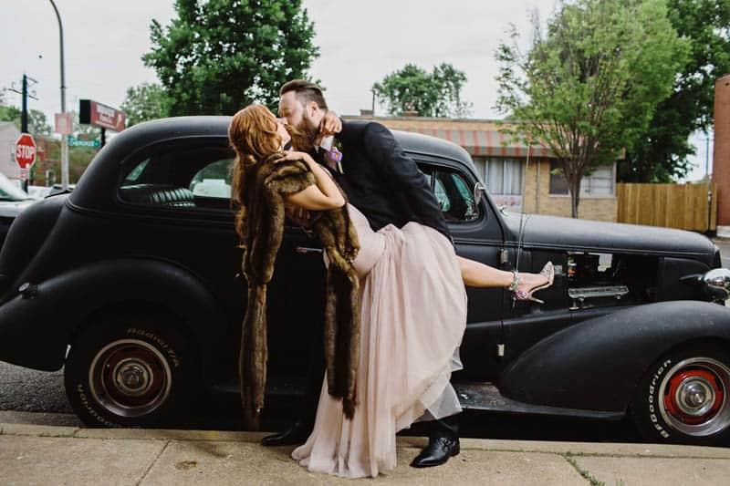 Close Knit Family & Friend DIY Wedding, Bride with Purple Petticoat (32)