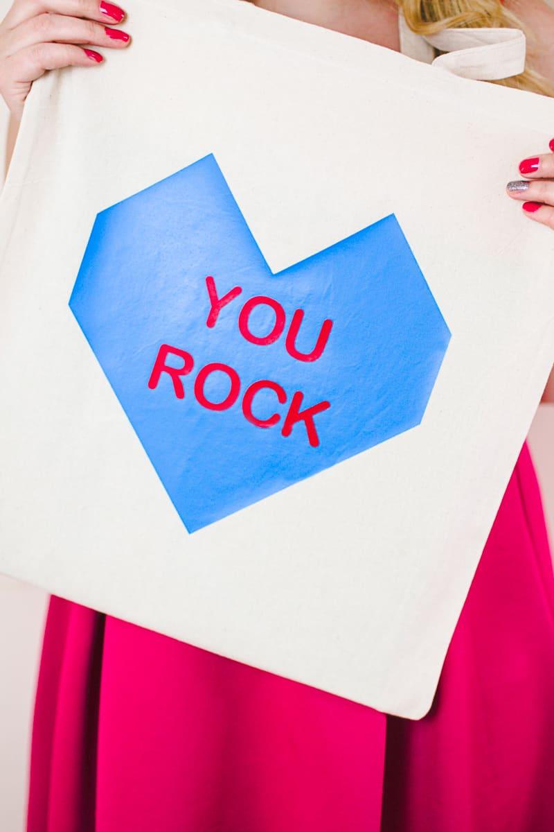 Conversation Heart Tote Bags DIY Valentines Gift Bridesmaid Presents Cricut Explore