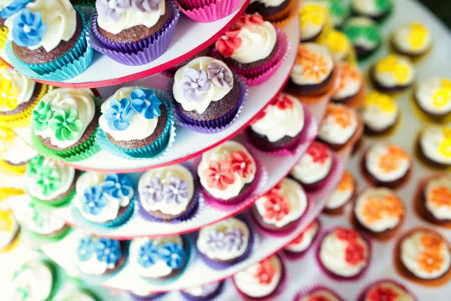 Colourful Cupcake Rainbow Wedding Cake Unique Alternative 1