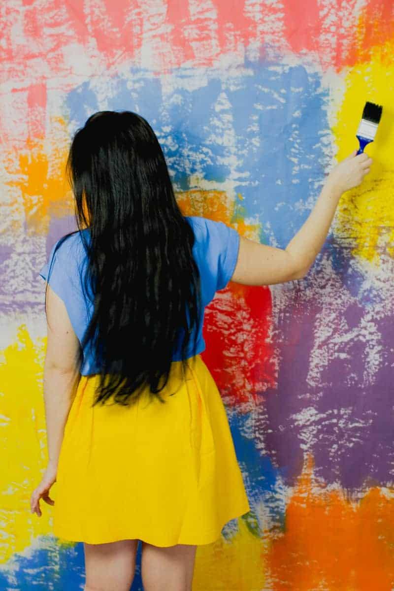 DIY Watercolour Backdrop Bold Painted Altar Paintbrush-5