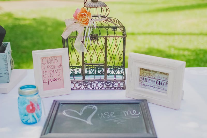 DIY Wedding Decor Whimsical bird cage chalkbaord frames jam jars