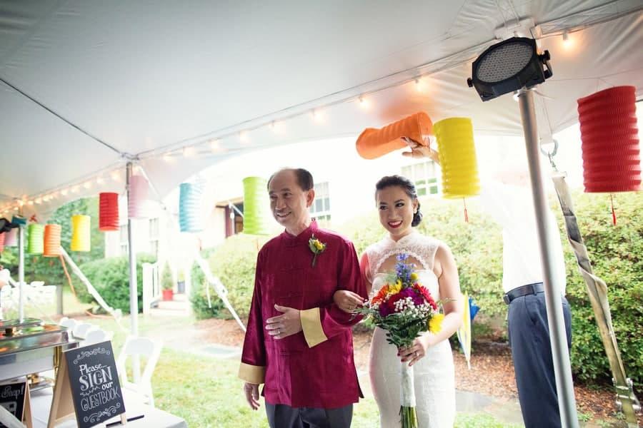 DIY Wedding with Coloruful Lanterns and rainbow backdrop 1