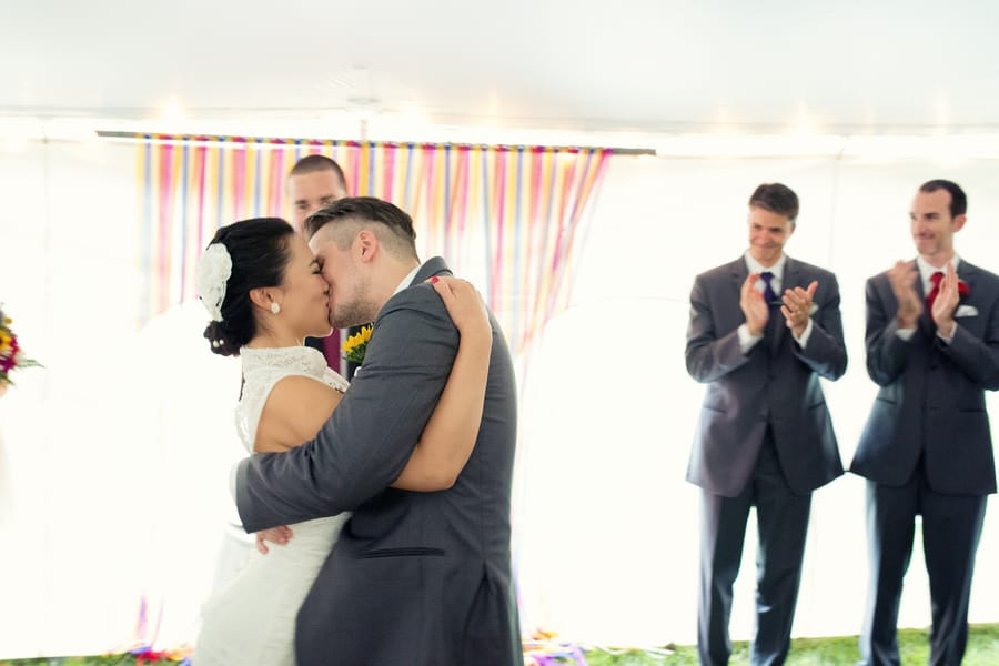 DIY Wedding with Coloruful Pompoms and rainbow backdrop 10