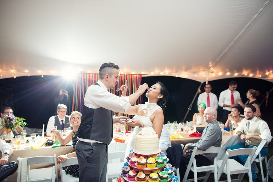 DIY Wedding with Coloruful Pompoms and rainbow backdrop 17