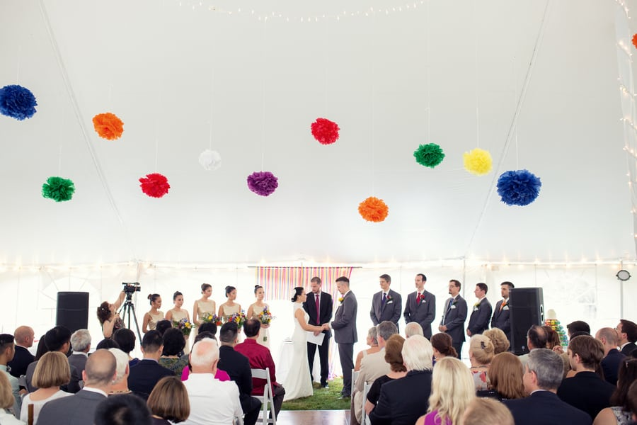 DIY Wedding with Coloruful Pompoms and rainbow backdrop 2
