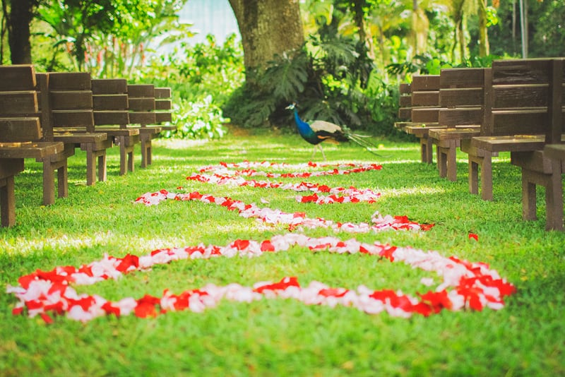 Destination Wedding in Hawaii Flower Aisle Peacock