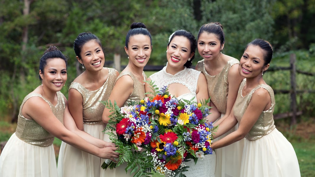 Gold Glitter Bridesmaids Dresses woth colourful rainbow shoes 3