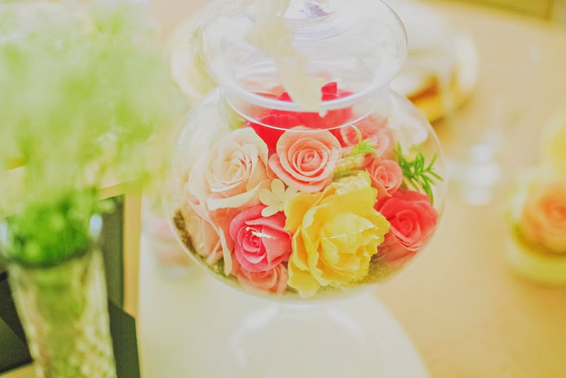 Romantic flowers centerpieces clay roses whimsical DIY
