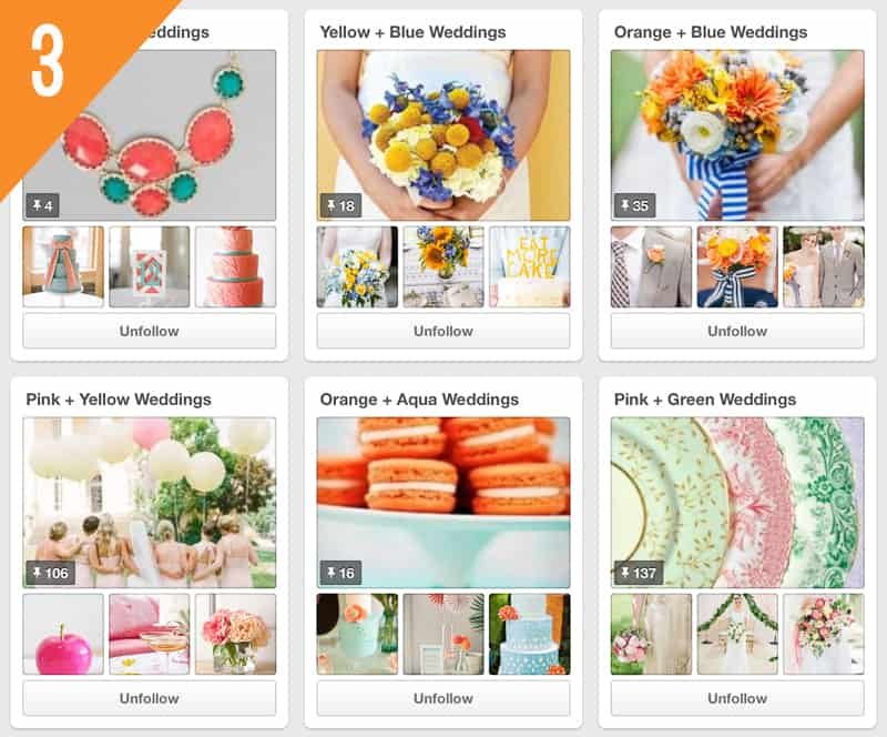 The Perfect Palette Wedding Pinterest Accounts Follow