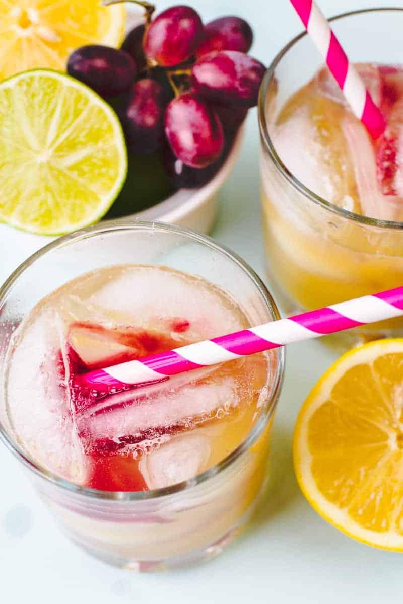 Watercolour Cocktail Recipe Vodka Pineapple Juice Grape Juice-3