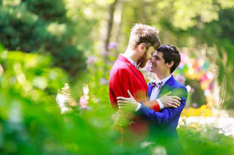 A SAME SEX COLOURFUL HANDMADE WEDDING AT A FOREST RETREAT IN Massachusetts (14)