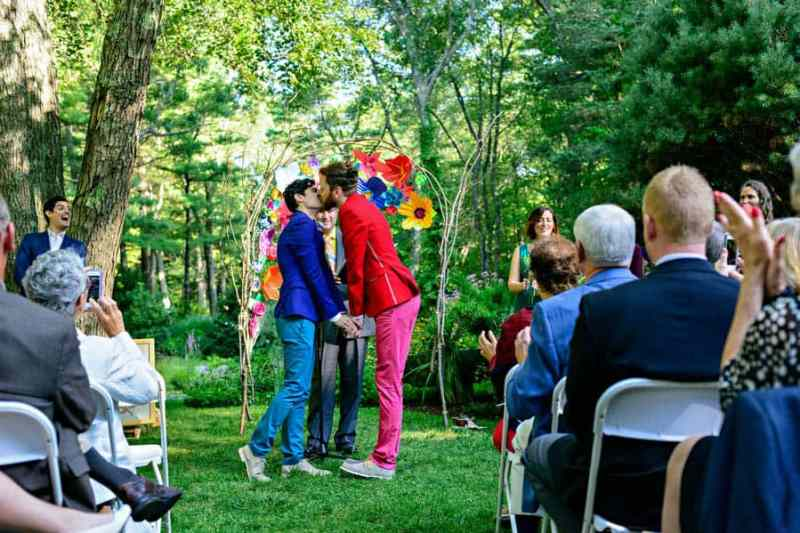 A SAME SEX COLOURFUL HANDMADE WEDDING AT A FOREST RETREAT IN Massachusetts (35)