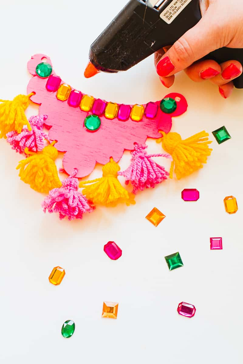 DIY Mexican Inspired Necklace Tassel Gem colorful ribbon fashion_-2