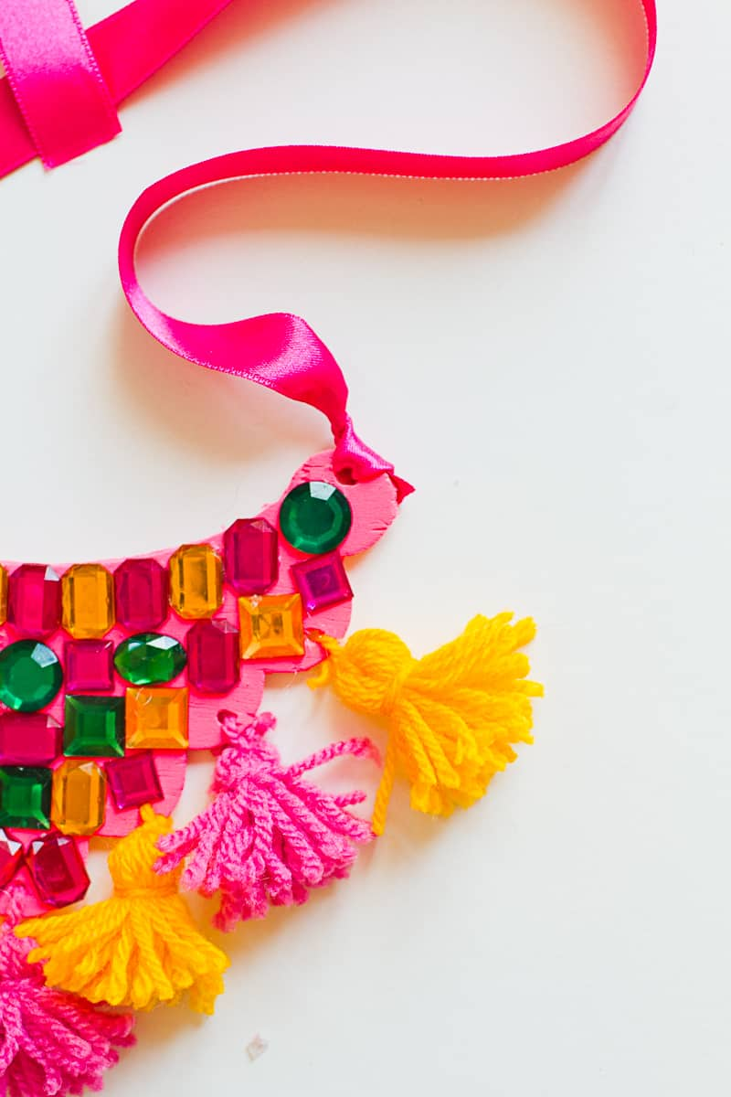 DIY Mexican Inspired Necklace Tassel Gem colorful ribbon fashion_-3