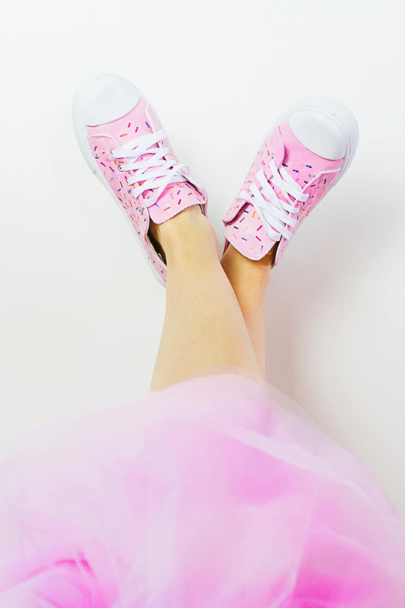 DIY Sprinkle Shoes Sneakers Pink Bridal pumps plimsole funfetti tutorial iron on-2