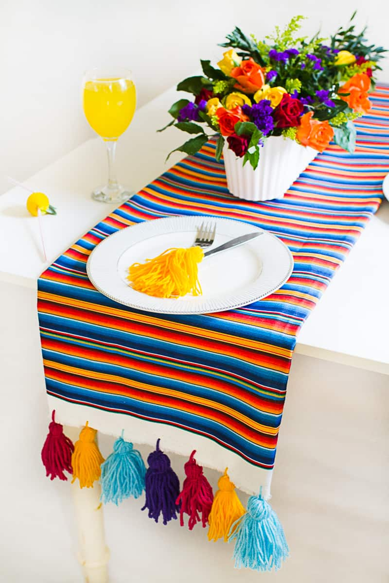 DIY Tassel Tassle table cloth with Zazzle Mexican inspired wedding inspiration styling-12