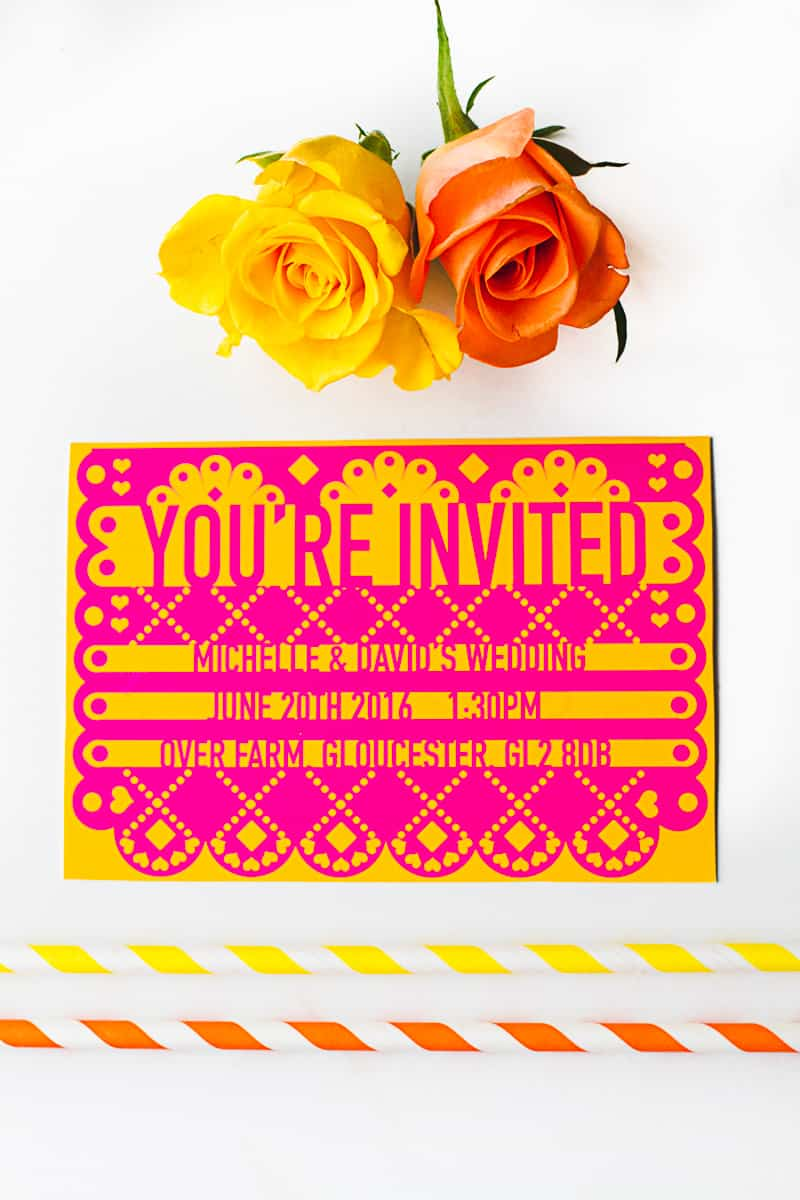 Free Printable Editable Papel Picado Mexican Wedding Invitation