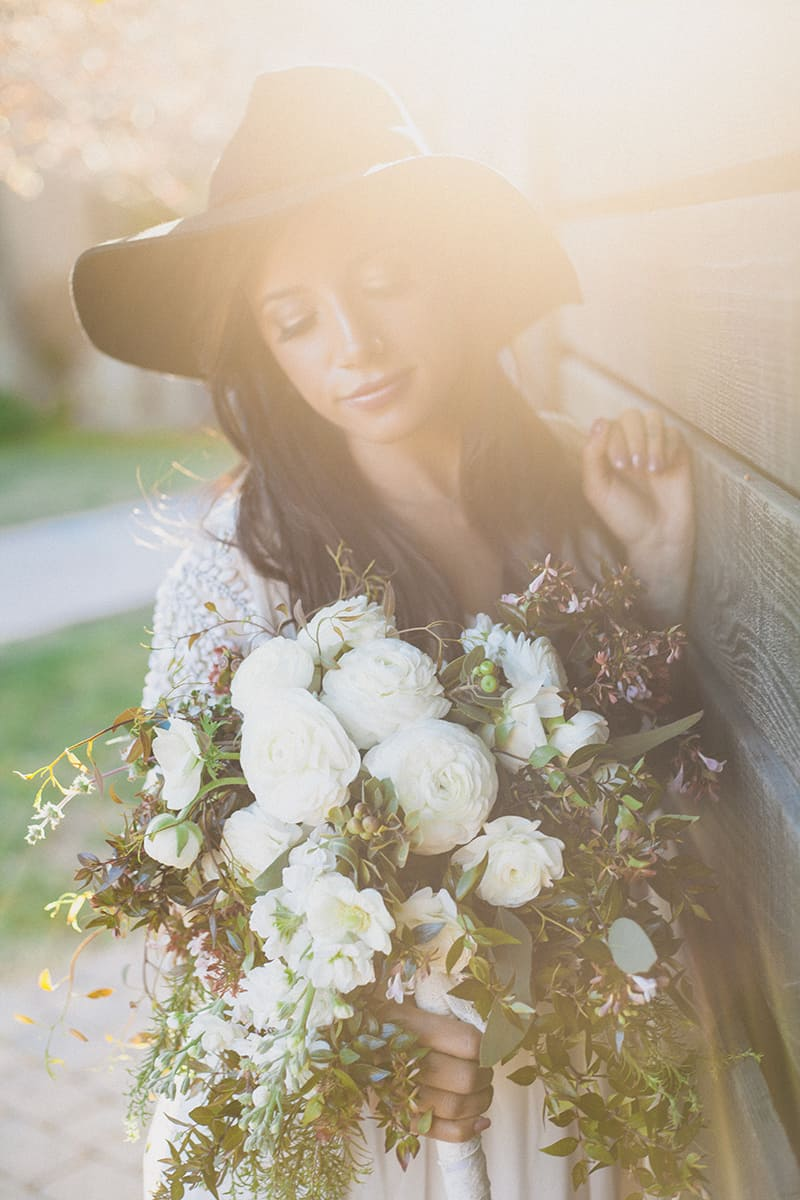 Bohemian Boho Wedding Inspiration Floppy Hat Bride Festival 17