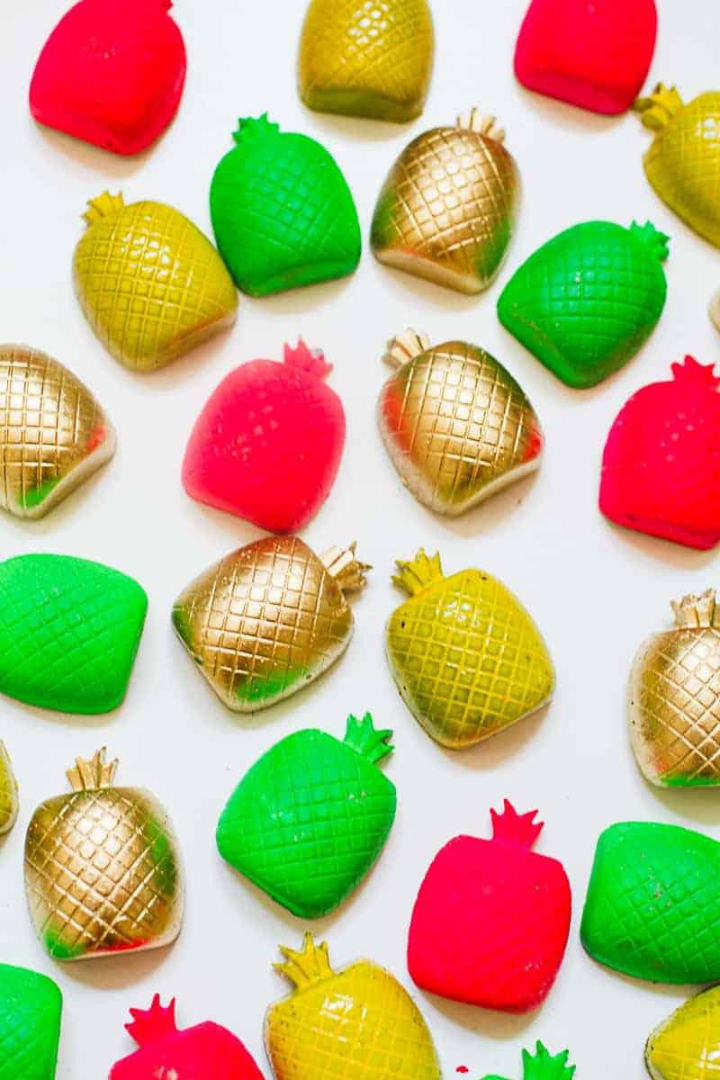 DIY Fridge magnet favors favours pineapples tutti frutti