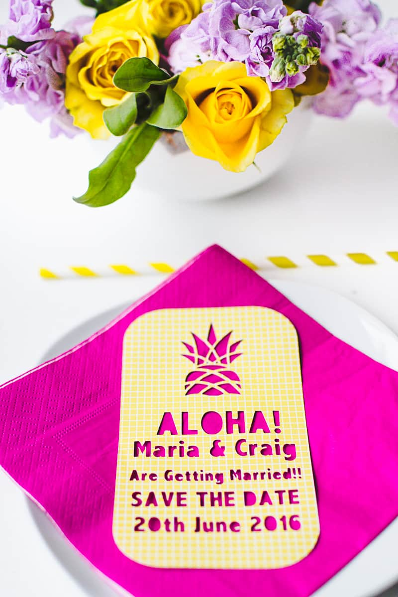 Tropical Pineapple Themed Save The Date Cutout Stencil Cricut