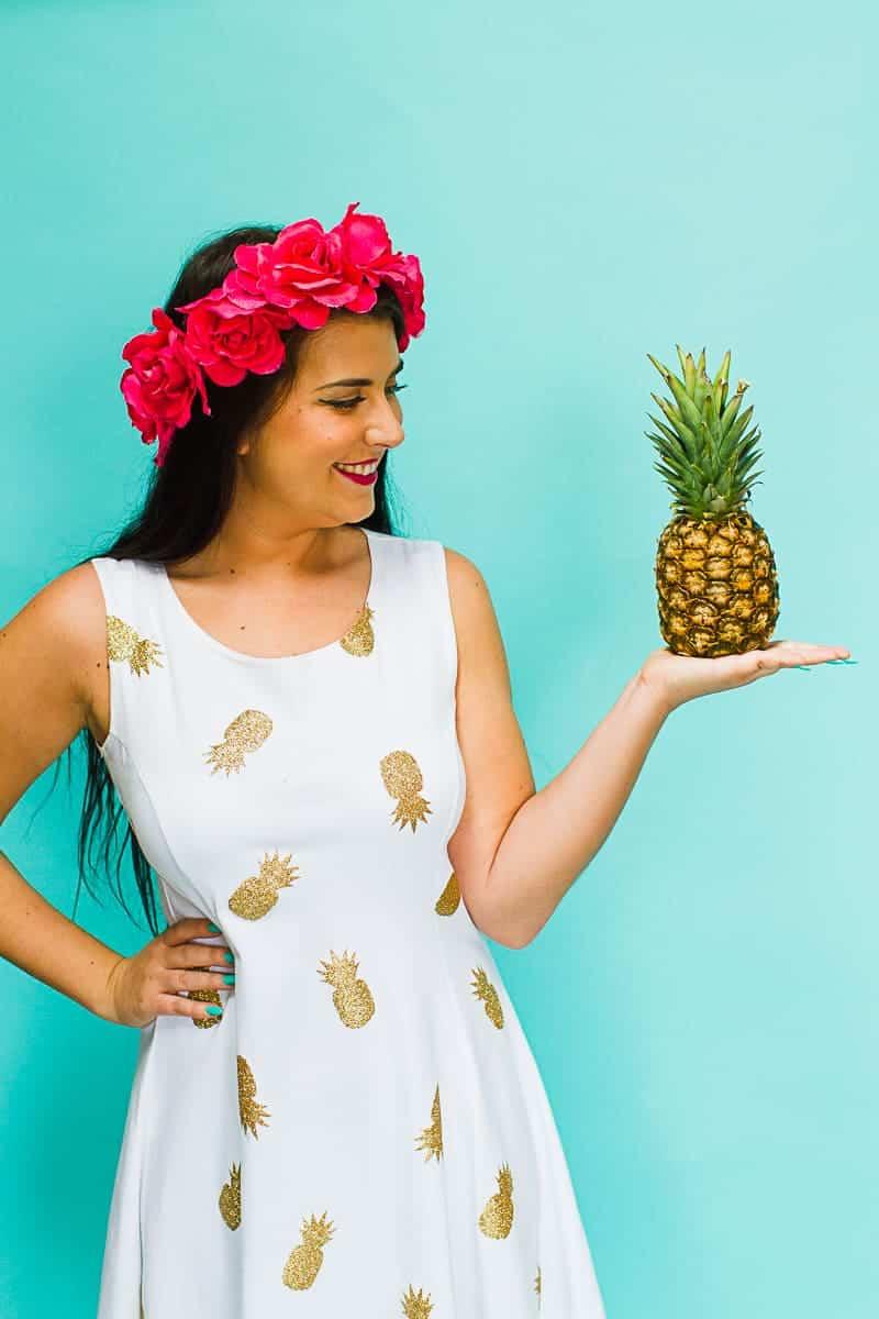 DIY Pineapple Themed Dress Gold Iron Tropical Bridesmaids Dress Tutorial with Cricut-5