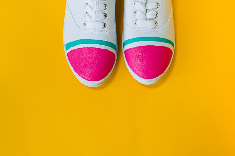 DIY Watermelon Shoes Fabric Paint Fruit themed sneakers pumps_-2