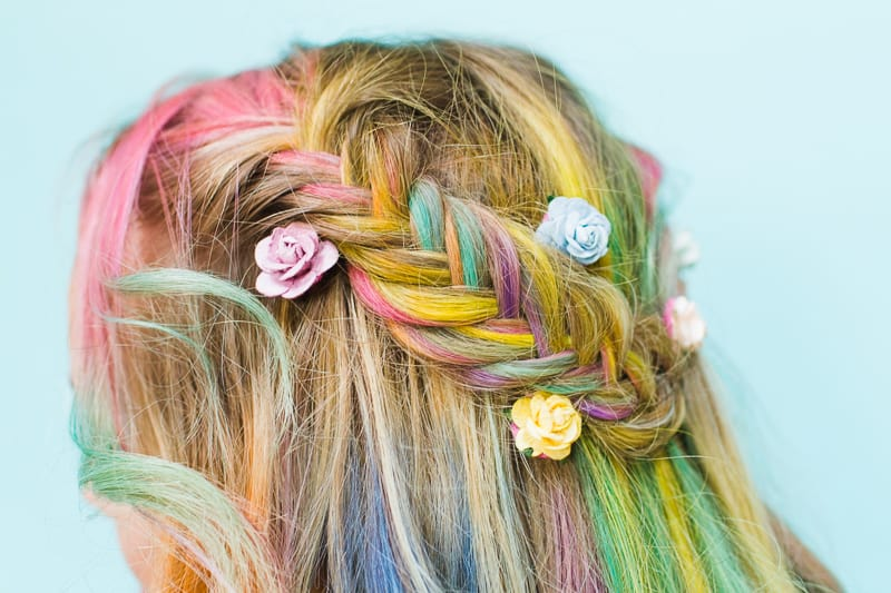 Rainbow Hair Unicorn Pastel style chalk GHD festival hair ideas fishtail plait crown and glory Bespoke Bride tutorial-2 - Copy