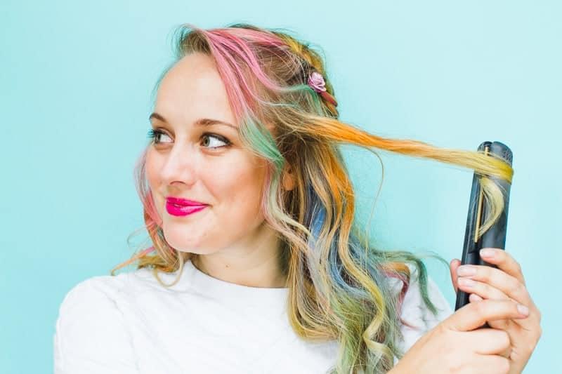 Rainbow Hair Unicorn Pastel style chalk GHD festival hair ideas fishtail plait crown and glory Bespoke Bride tutorial-4 - Copy
